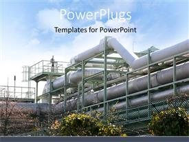PowerPlugs: PowerPoint template with industrial plant with chemical pipelines and trees and sky in the background