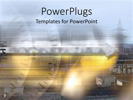 PowerPlugs: PowerPoint template with industrial plant fading in the background and two speedometers with gray arrow depicting the fast speed of time