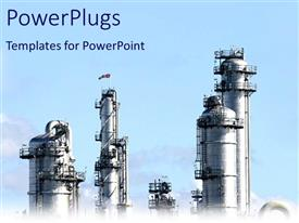 PowerPlugs: PowerPoint template with industrial plant representing chemical industry on light blue sky background