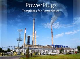 PowerPlugs: PowerPoint template with industrial plant with smoke and skull made of smoke on the sky