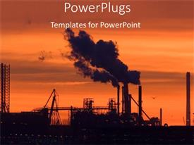 PowerPlugs: PowerPoint template with industrial plant at sunset with smoke rising out of chimney