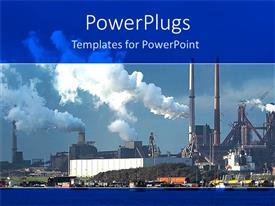 PowerPlugs: PowerPoint template with industrial plant with white smoke rising out of chimney
