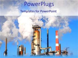 PowerPlugs: PowerPoint template with industrial plants emitting flames to the blue sky
