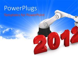 PowerPlugs: PowerPoint template with the new year celebration of 2012 with the help of a robot