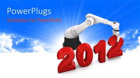 PowerPoint template displaying the new year celebration of 2012 with the help of a robot