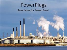 PowerPlugs: PowerPoint template with an industrial setup near the sea