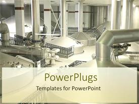 PowerPlugs: PowerPoint template with industrial theme showing inside of beer factory with steel silver pipelines