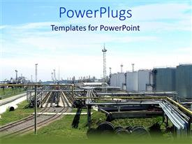 PowerPlugs: PowerPoint template with an industry in the picture with clouds in the background