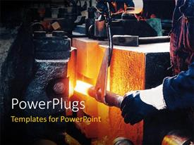 PowerPlugs: PowerPoint template with the industry in working form with greyish background