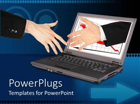 PowerPlugs: PowerPoint template with information technology partnership with hand reaching out of laptop to shake another hand