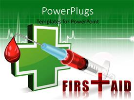 PowerPlugs: PowerPoint template with an injection with a medical sign in the background