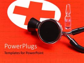 PowerPlugs: PowerPoint template with an injection vial and a stethoscope on a red cross cloth