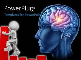 PowerPlugs: PowerPoint template with the inner view of a human head with a figure in front