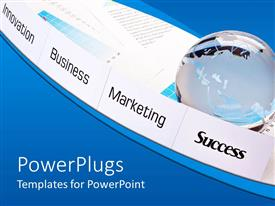 PowerPlugs: PowerPoint template with innovation, business, marketing, success on white paper pieces, glowing globe on business and financial papers