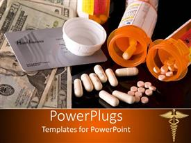 PowerPlugs: PowerPoint template with insurance card, cash and medicine showing the high cost of health