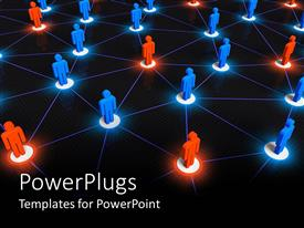 PowerPlugs: PowerPoint template with interconnected color  human figures showing social network concept pattern