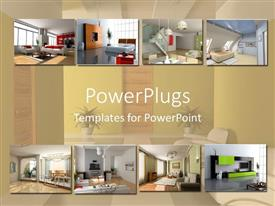 PowerPlugs: PowerPoint template with interior design  apartment modules  home building collage bathroom living room background
