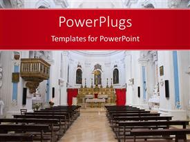 PowerPlugs: PowerPoint template with interior of large empty church colored white with cross on altar