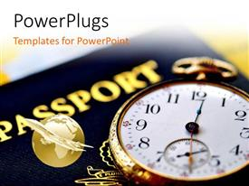 PowerPlugs: PowerPoint template with an international passport and a gold colored stop watch