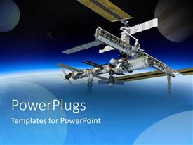 PowerPoint template displaying international space station in space with planets, spaceship over gradient blue and black background