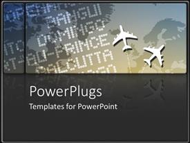 PowerPoint template displaying international travel with airplanes and flight arrivals