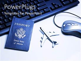 PowerPlugs: PowerPoint template with international travel passport on computer keyboard with mouse and airplane toy