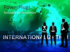 PowerPlugs: PowerPoint template with internationalization with silhouette of people standing before earth globe