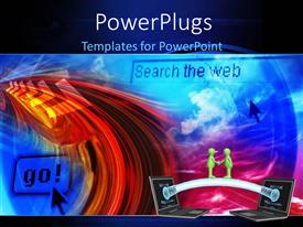PowerPoint template displaying internet communication with handshake of 3D men and web depictions