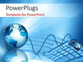 PowerPlugs: PowerPoint template with internet Concept of global business with 3D globe, mouse and a keyboard in the foreground
