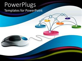 PowerPlugs: PowerPoint template with internet connection, 3D digital representation of computer mouse linked to circular spots interconnected on reflective white surface