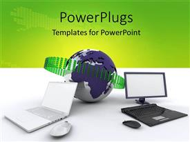 PowerPoint template displaying internet depiction with computers around the globe connected together