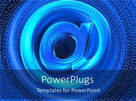 PowerPoint template displaying internet depiction with stylish email symbol in blue background