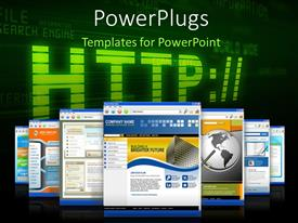 PowerPlugs: PowerPoint template with internet depiction with web browser pages and web related terms in background