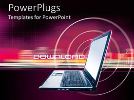 PowerPlugs: PowerPoint template with internet download theme with laptop, folders and tech background