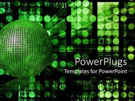 PowerPoint template displaying internet metaphor with binary code on green ball