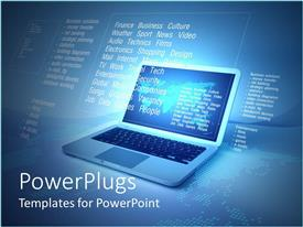 PowerPlugs: PowerPoint template with internet metaphor with words, laptop and flat world map