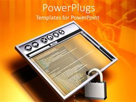 PowerPoint template displaying internet security metaphor with web browser and padlock, chains and lock with keyboard background