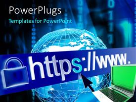PowerPlugs: PowerPoint template with internet security with padlock symbol beside URL over laptop and globe
