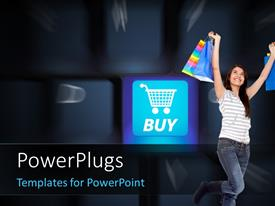 PowerPlugs: PowerPoint template with internet Shop Concept, with girl holding shopping bags and blurred keys in the background
