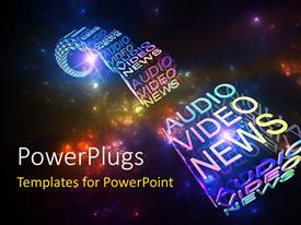 PowerPlugs: PowerPoint template with a number of colorful words with galaxies in background