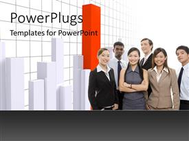 PowerPlugs: PowerPoint template with interracial business team with high orange bar in graph