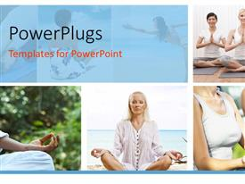 PowerPlugs: PowerPoint template with collage of group of women doing meditation in yoga position
