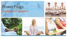 PowerPoint template displaying collage of group of women doing meditation in yoga position