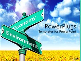 PowerPlugs: PowerPoint template with intersection of Economy and Environment field of buttercups