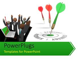 PowerPlugs: PowerPoint template with investors with laptop and green tailed dart hitting bulls eye of target strategy