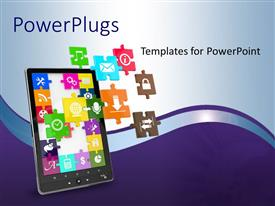 PowerPoint template displaying an ipad with a number of apps