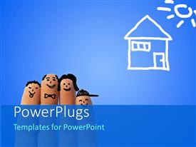 PowerPlugs: PowerPoint template with ironic portrait of a family of fingers with house