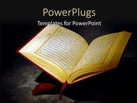 PowerPoint template displaying islamic Holy Quran Depiction with Arabic Text over a dark background