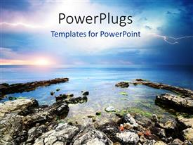 PowerPlugs: PowerPoint template with an island with a beautiful sky in the background