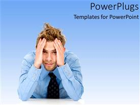 PowerPlugs: PowerPoint template with issues problems and solutions business frustation hard on a blue background